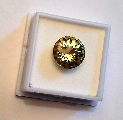 Excellent 11CT Untreated Mexican Canary Yellow Apatite 14 mm Rd Buff Top