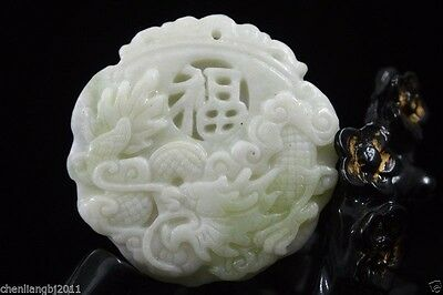 Collect Chinese natural old whitem Jade Carved Amulet Pendant Dragon 28