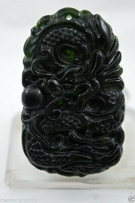 100% China's natural jade nephrite carving black jade pendant Dragon 05