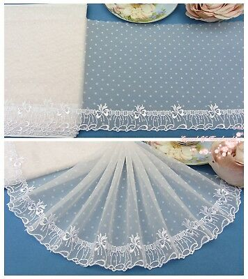"7""*1Y Embroidered Floral Tulle Lace Trim~Icy Pink+White~Little Lady~Doll/Dress~"