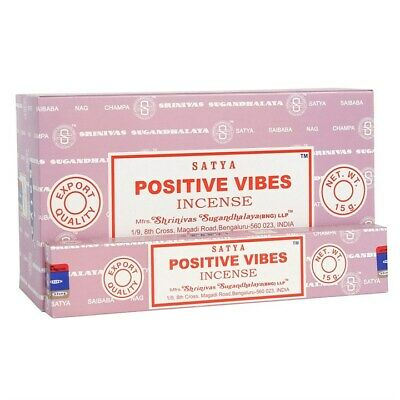 ❤️ Bulk Buy 3 or 12 Pack Box 15g Satya Positive Vibes Nag Champa Incense Sticks