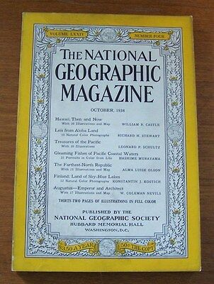 Vintage National Geographic magazine October 1938 Hawaii, Pacific, Finland etc