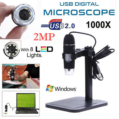 1000X/800X/500X 8LED USB 2.0 Digital Microscope Endoscope Magnifier Camera+Stand