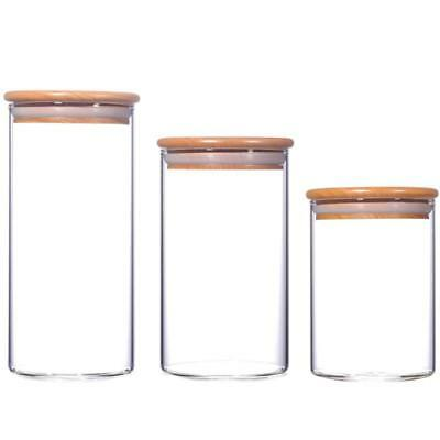 1 pc Clear Glass Kitchen Canister Snack Sugar Storage Jar Bottle