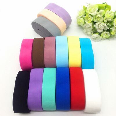 """New 5 yards 1""""(25mm) Sold Fold Over Multirole Elastic Spandex Satin Band #CA"""