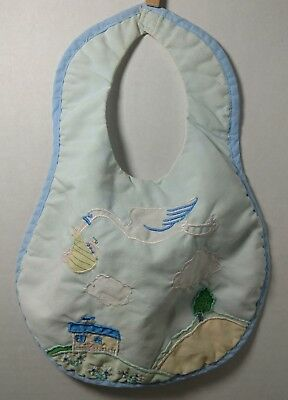 Vintage Baby Bib Embroidered Stork Carrying Baby Infant Toddler Boy Girl Retro