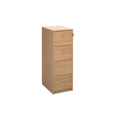Lockable Wooden Four Drawer Storage Filing Cabinet Beech New