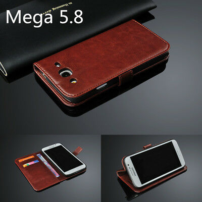Luxury wallet PU Leather Cover Case For Samsung Galaxy Mega 5.8 GT-I9152