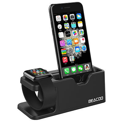 Apple Watch And Iphone Charging Dock Charge Station Cradle Holder Stand (Black)
