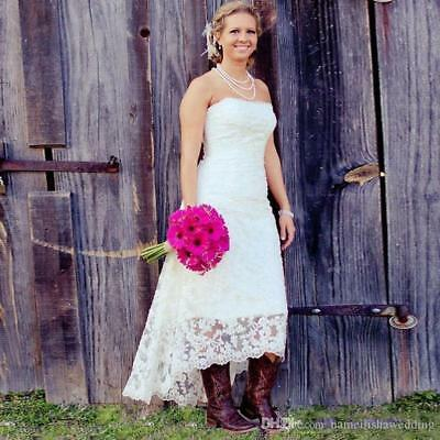 Plus Size High Low Lace Strapless Country Wedding Dress Bridal Gown Custom