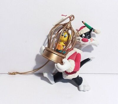 Sylvester Tweety Christmas Ornament Plastic 3 Inch 1995 Warner Brothers