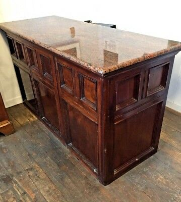 A Victorian Mahogany & Marble Topped - Shop Counter - Kitchen Island