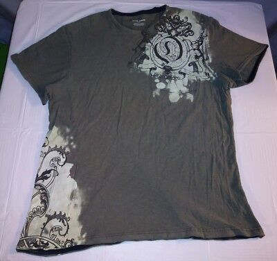 7f369853d DKNY Mens T-Shirt Size Large Short Sleeve Graphic Tee Bleached Design Green