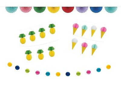 7ft Honeycomb Ice Cream Pineapple Garland Bunting Banner Birthday Decoration