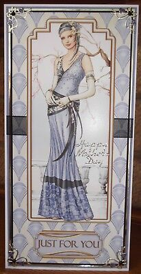 Handmade Art deco mother's day card with a classic female lady in lilac
