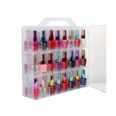 Portable Clear Double Side Nail Polish Organizer Holder Up to 48 Bottle Adjus...