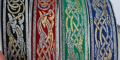 Celtic Swirl Metallic Green Fabric Trim 1 12 Inch Wide By The Yard
