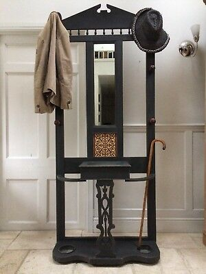 Antique Black Painted Hall Stand Coat Hat Rack Hall Table With Mirror  Umbrella