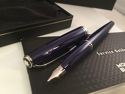 Montblanc Generation Dark Blue Resin w/ Platinum Trim Fountain Pen 14k M New