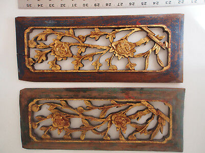 """2 Antique 19th c. Chinese Carved Wood Gold Leaf Pierced Floral Panels Parts 15"""""""
