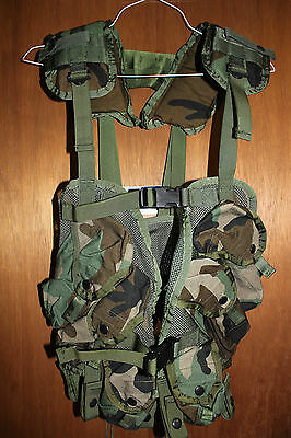 US Military Issue Tactical Load Bearing Vest Enhanced LBV Woodland Camo