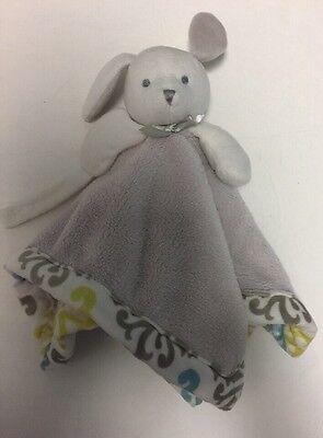 Blankets & Beyond White Taupe Gray Bunny Rabbit Lovey Security Blanket Nunu