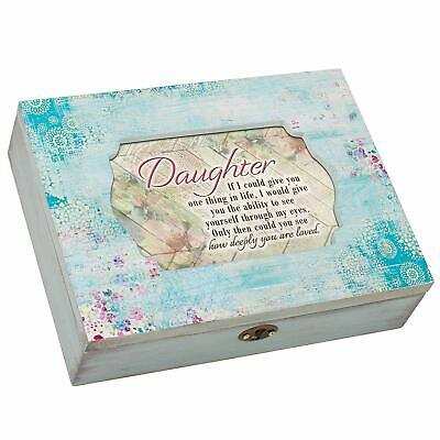 Daughter You Are Loved Aqua Medallion Decoupage Music Box - You Are My Sunshine