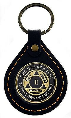 Recovery Gift - AA Black & Gold - 2 Year Anniversary Coin w/ Leather Holder