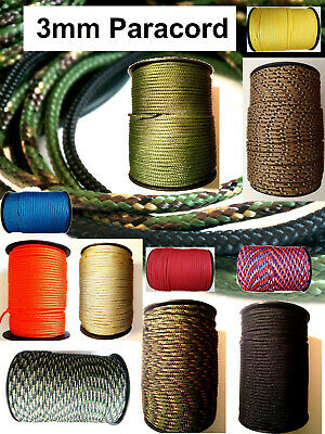 PARACORD 1 core rope string line 3mm poly synthetic sailing tie lanyard cord UK