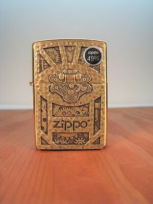 ZIPPO STEAMPUNK BOX EMBLEM GEAR DESIGN BRASS LIGHTER New Orig. Zippo Velour Case