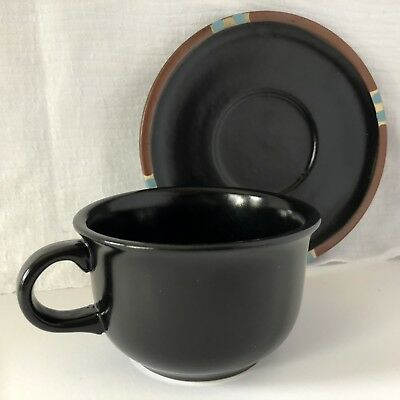 Mesa Black by Dansk 1 Cup and 1 Saucer Made in Portugal Stoneware