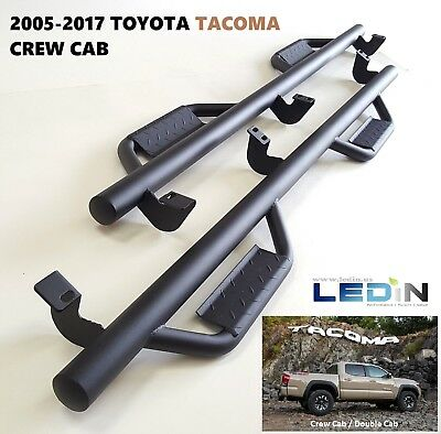 Side Step Nerf Bar For 05-18 Toyota Tacoma Crew Cab Drop Step Hoop Tube Texture
