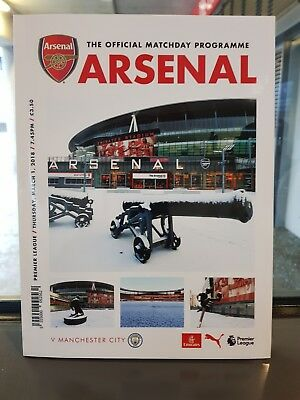Arsenal v Manchester City. Premier League Official Matchday Programme