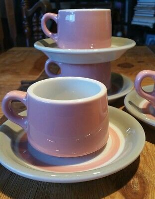 4 Cup & Saucer Shenango China New Castle Pa. Restaurant Ware SHO55 Pink Gray 50s