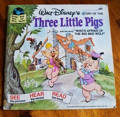 The Three Little Pigs Book and Record Disney 1978 vintage good condition