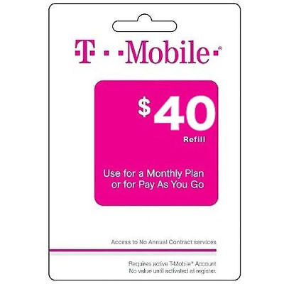 T-Mobile $40 Refill -- Loaded Directly.