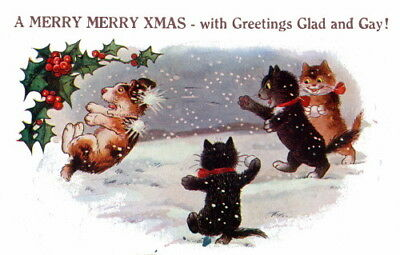 1921 Christmas Art~Kitty Cats Pummel Puppy Dog w Snowballs~NEW Large Note Cards