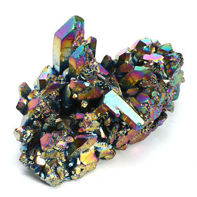 Rainbow Titanium Coated Drusy Quartz Geode Crystal Cluster Specimen Home Decor