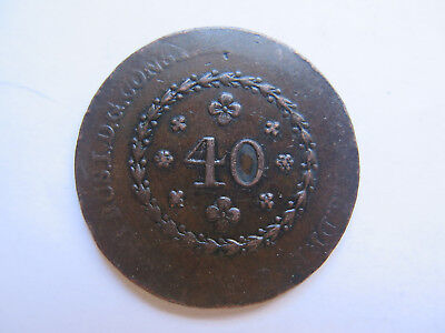 c1820s BRAZIL UNITED KINGDOM COPPER 40 REIS COIN NICE CONDITION POORLY STRUCK