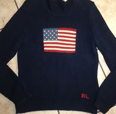 Ralph Lauren Sport Youth XL American Flag Knit Pullover Sweater Navy ***
