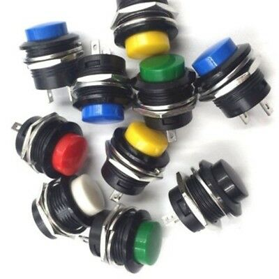 5/10pcs 16mm Round Metal Push Button Momentary Switch Black White Red 6 Colors