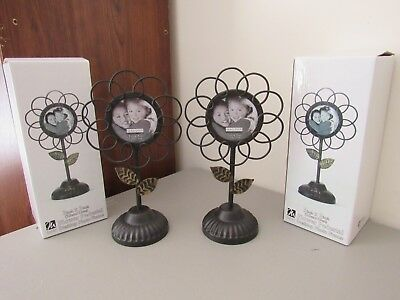 NWT Metal Flower Pedestal Photo Frame - Bronze With Gold Accents 3x3 - Lot of 2