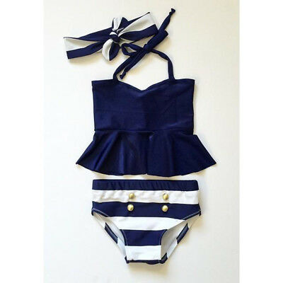 UK Kids Baby Girl Navy Striped 3pcs Bikini set Swimsuit Swimwear Bathing Suit