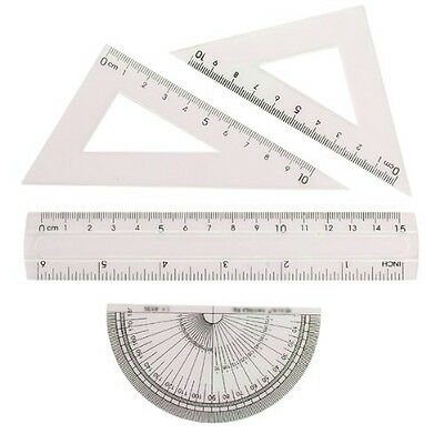 Ruler Set Protractor Plastic Triangle Square Half Circle for Drawing Maths Angle