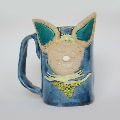 Unique Handmade Ceramic Pottery Mug coffee Cup with ears