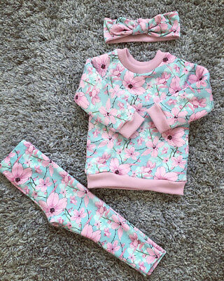 Newborn Kids Baby Girl Floral Long Sleeve Tops Pants Leggings Clothes Outfits UK