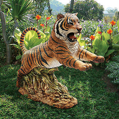 """Jungle Cat Leaping Bengal Tiger Design Toscano 27"""" Hand Painted Garden Statue"""