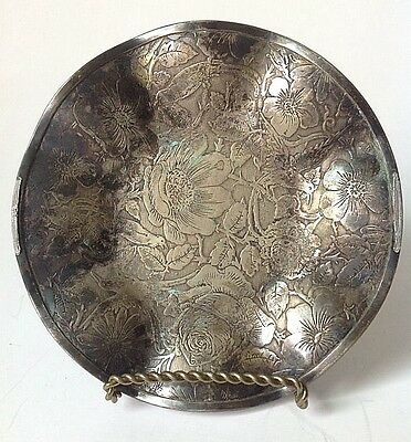 Vintage WB Mfg Tapestry EPNS Silverplate Ruffled Dish Weidlich Bros Floral BMMTS