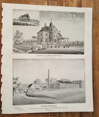 Engraving - THE MCLANE MILLS & RES. OF JOSEPH SHATTUCK N. HAMPSHIRE - 1892 ATLAS