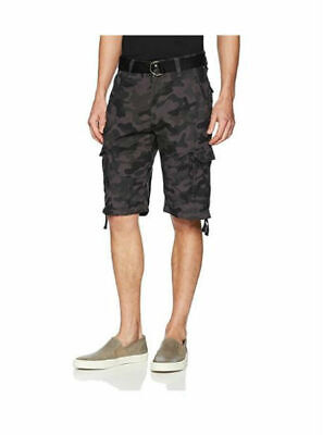SouthPole Mens Mini Canvas Belted Utility Cargo Short Black or Camo